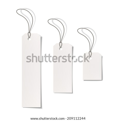 blank price tags isolated on white background