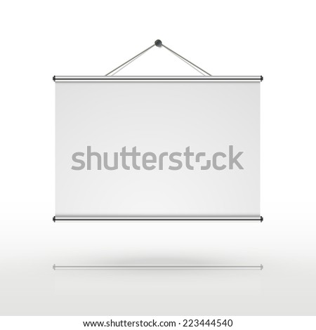 blank projector screen isolated on white background - stock vector