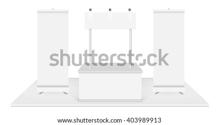 Blank promotion counter and  Roll up banner stand on a white background.