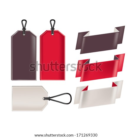 blank promotional sale tags and ribbons isolated on white