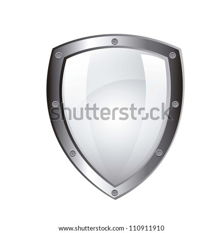 blank protection shield isolated over white background. vector - stock vector