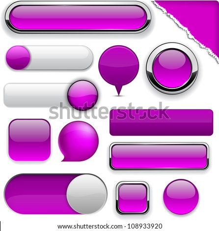 Blank purple web buttons for website or app. Vector eps10. - stock vector