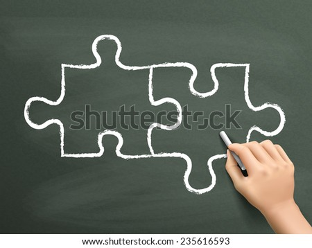 blank puzzle drawn by hand isolated on blackboard