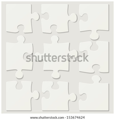 blank puzzle tiles - stock vector