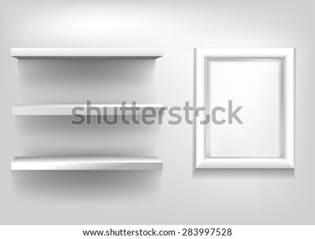 Blank realistic exhibition shelves and white frame for a poster on a light background. Vector illustration - stock vector