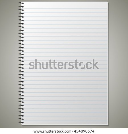 blank realistic spiral notebook with lined opened pages. Portrait orientation