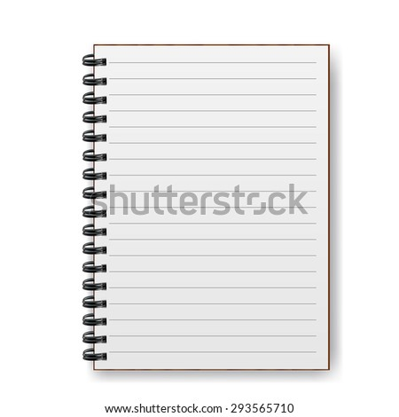 Blank realistic spiral notebook with shadow - stock vector