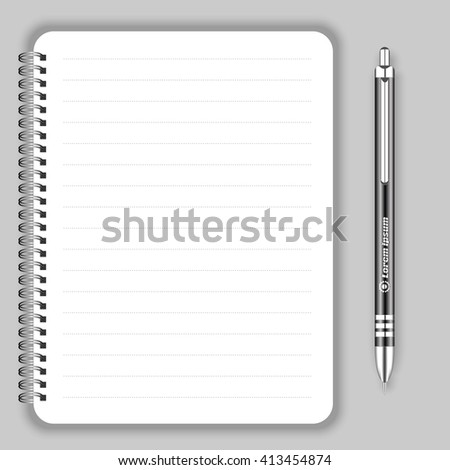 Blank realistic spiral notepad notebook and black pen. Display Mock up for corporate identity and promotion objects. - stock vector