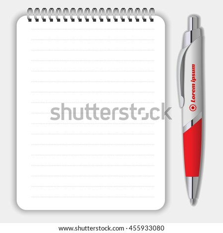 Blank realistic spiral notepad notebook and pen isolated on white vector. Display Mock up for corporate identity and promotion objects - stock vector