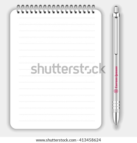 Blank realistic spiral notepad notebook and white pen isolated on white vector. Display Mock up for corporate identity and promotion objects - stock vector