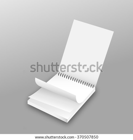 Blank realistic spiral notepad notebook isolated on grey vector - stock vector