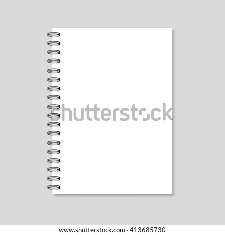 Blank realistic spiral notepad notebook isolated on white vector. Template notebook. Blank cover design - stock vector