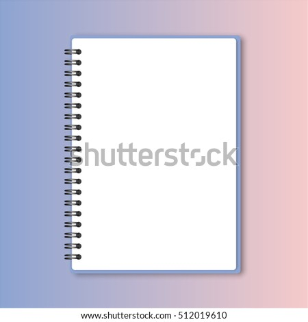 blank realistic spiral notepad notebook on rose quartz and serenity gradient background