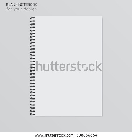 blank realistic spiral notepad notebook.Template for your design - stock vector