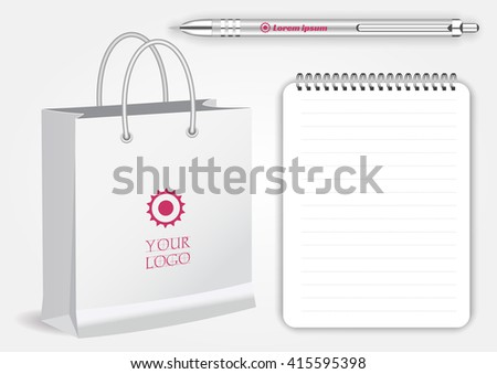 Blank realistic spiral notepad notebook, white pen and  shopping bag isolated on white vector. Display Mock up for corporate identity and promotion objects - stock vector