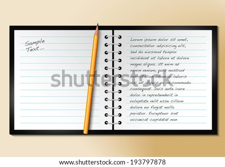 Blank realistic spiral notepad notebook with pencil - stock vector