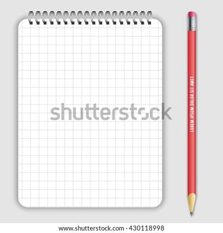 Blank realistic spiral notepad notebookand lead pencil isolated on white vector. Display Mock up for corporate identity and promotion objects - stock vector
