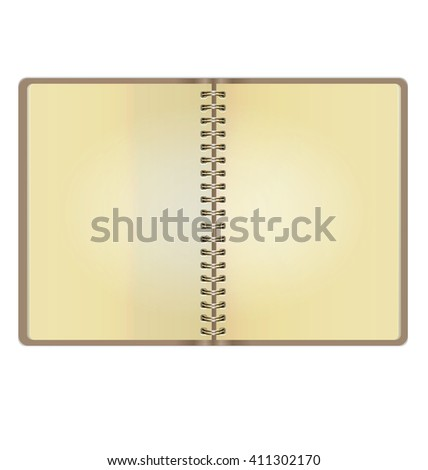 Blank Realistic Vintage Open Notebook Isolated On White Background - stock vector