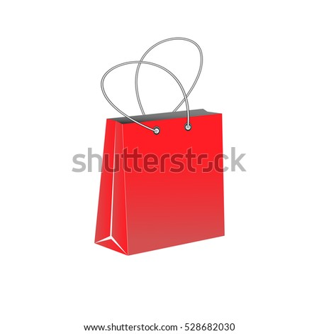 Blank red paper bag, shopping bag isolated on a white background - vector illustration