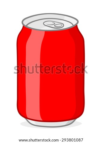 Blank red soda can with silver top and ring pull on white background - vector cartoon illustration