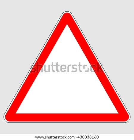 Blank red triangle warning sign , blank red triangle traffic sign , vector illustration - stock vector
