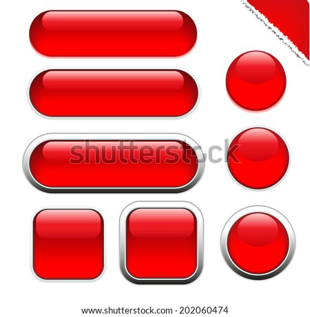 Blank red web buttons for website or app