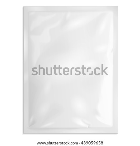 Blank Retort Foil Pouch Packaging Medicine Drugs Or Coffee, Salt, Sugar, Sachet, Sweets Or Condom. Illustration Isolated On White Background. Mock Up Product Template. Ready For Your Design. Vector  - stock vector