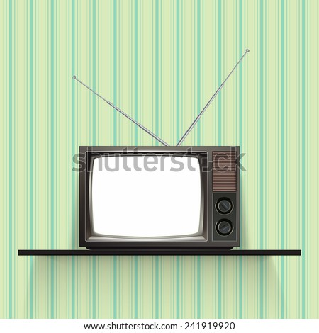 Blank retro tv with vintage wallpaper. Realistic Vector Illustration.  - stock vector