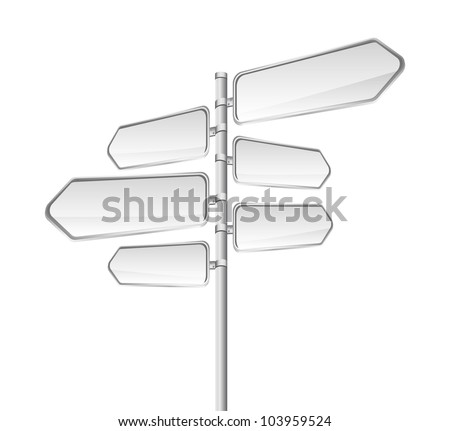 blank road sign isolated over white background. vector - stock vector