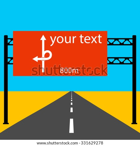 Blank road sign on the road.  Vector illustration. - stock vector