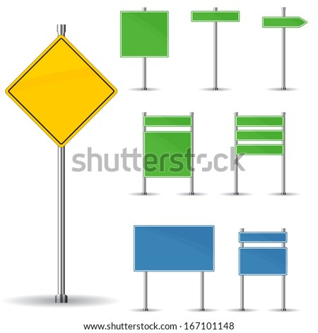 Blank road signs board and arrow vector - stock vector