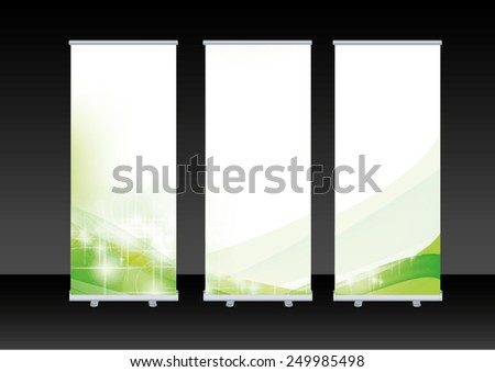blank roll up banner display - stock vector