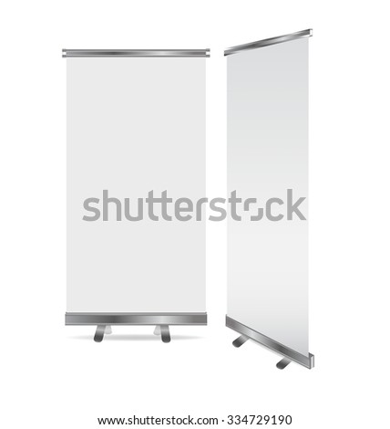 Blank roll up banner display. Vector illustration. - stock vector