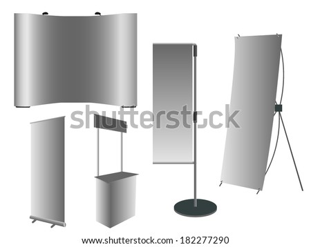 blank Roll-up Banner, J-Flag Poles, Pop-up Banner, Promotion couter, X-Stand Banner display Vector template for design work - stock vector
