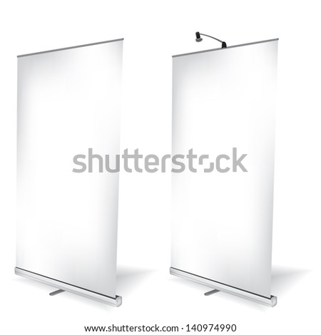 Blank roll up banner on white background