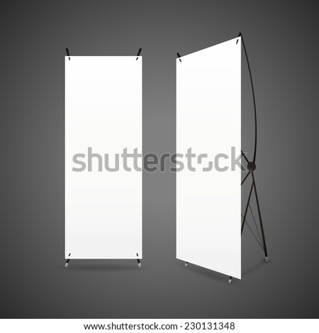 blank roll up banners set isolated over black background
