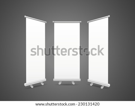 blank roll up banners set isolated over black background - stock vector