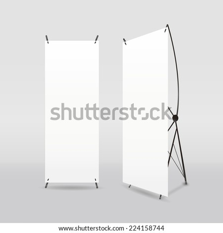 blank roll-up banners template isolated on white - stock vector