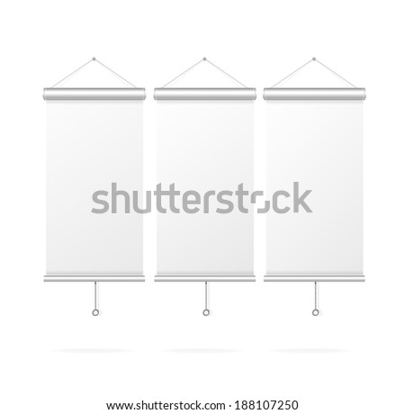 Blank roll up poster template, vector display on white background - stock vector