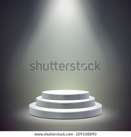 blank round stage isolated over dark background - stock vector