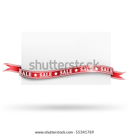 Blank sale tag with ribbons. Vector illustration - stock vector