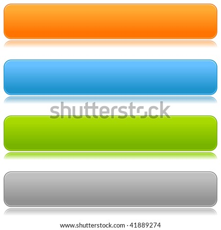 Blank satin color rounded bars buttons on white background