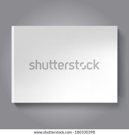 Blank scrapbook cover template. Horizontal oriented book isolated on dark background. - stock vector