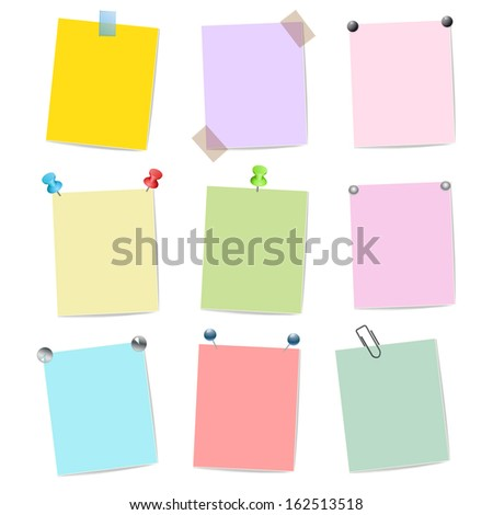 blank set of multicolor stickers with pins  - stock vector