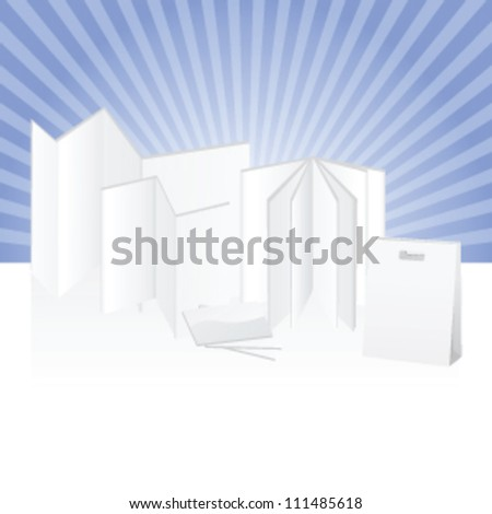 Blank set of products for commercial used made of paper to be customized with printing and designs - stock vector