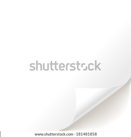 Blank sheet of paper curved bottom - stock vector