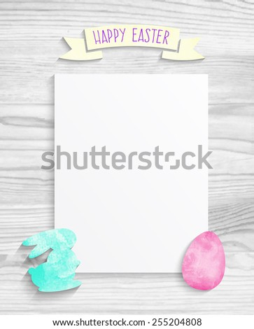Blank sheet of paper for Easter with rabbit and egg on white wood texture background - stock vector