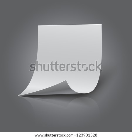 Blank sheet of paper, realistic looking - stock vector
