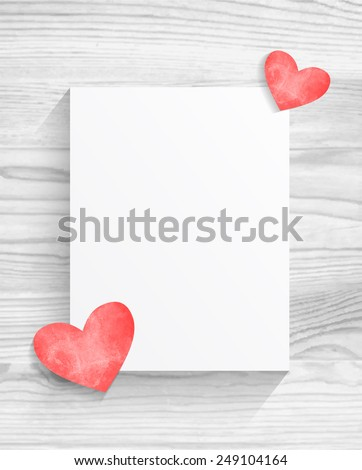 Blank sheet of paper with hearts on white wood texture background - stock vector