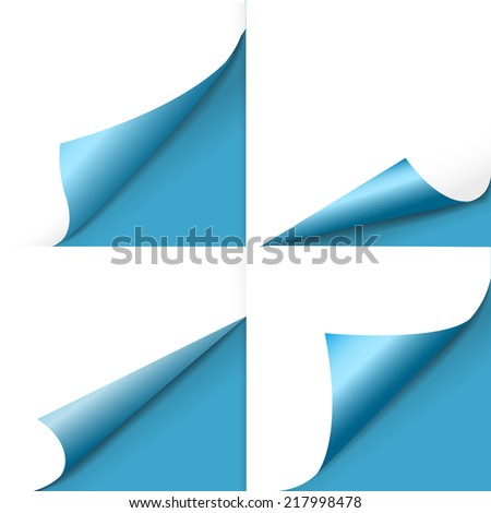 blank sheet of paper with page curl set over blue - stock vector